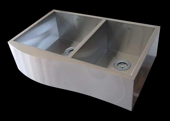 Apron-Front Compound Curve Farmhouse Zero Radius Double Bowl Stainless Steel Sink 17/13 x 18 x 10