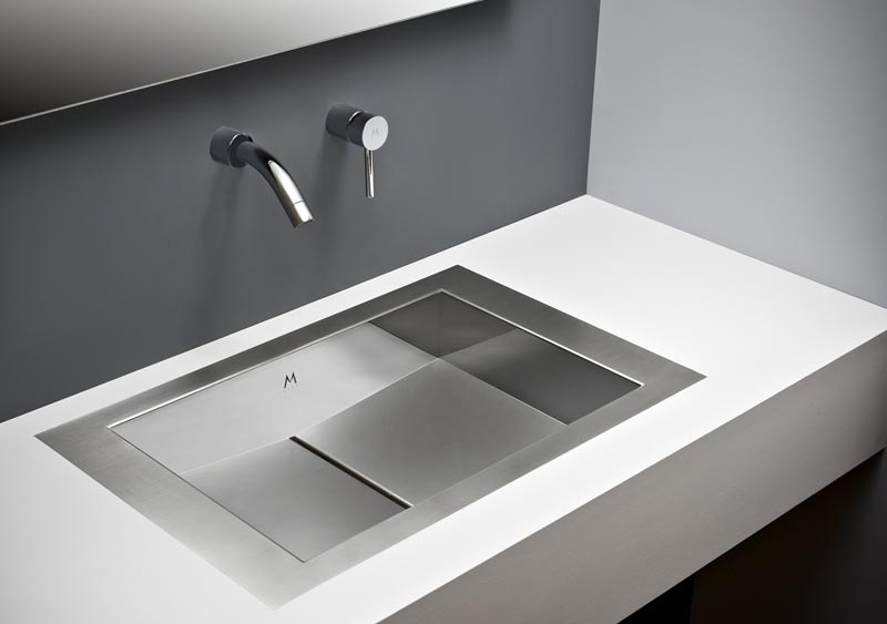 Flush mount bathroom sink, True Flush Mount stainless steel bathroom sink, unique bathroom sink, slot drain