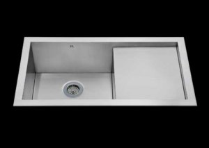 Flush mount kitchen sink, True Flush Mount stainless steel kitchen sink, single bowl prep board kitchen sink, sink with drain board 17 X 16.5 X 10