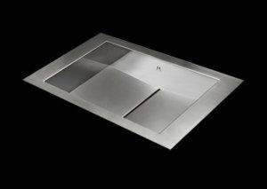 Flush mount bathroom sink, True Flush Mount stainless steel bathroom sink, unique bathroom sink, slot drain 15 X 13 X 4