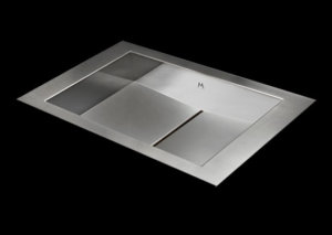 Flush mount bathroom sink, True Flush Mount stainless steel bathroom sink, unique bathroom sink, slot drain 20 X 13 X 4