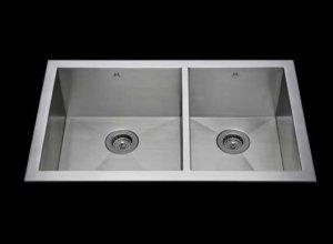 Flush mount kitchen sink, True Flush Mount stainless steel kitchen sink, double bowl kitchen sink 17/13 X 15 X 10