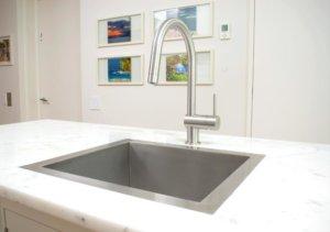 Flush mount kitchen sink, True Flush Mount stainless steel kitchen sink, single bowl kitchen sink